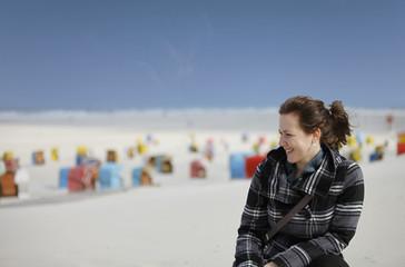 Frau am Strand von Juist - Woman at the beach of Juist