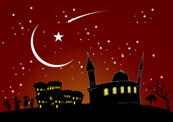 night, children and the mosque