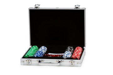 Casino chips and cards in the steel case