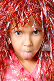 Young girl with carnival wig poster