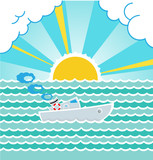 Summer sea landscape with a boat. Vector.