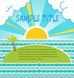 Summer sea landscape with island. Vector.