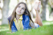 Portrait of Tween Girl on Grass