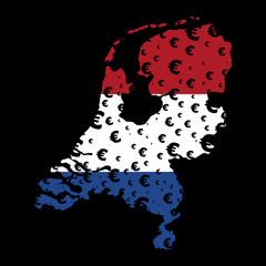 Netherlands map flag euro grunge