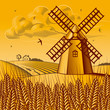 roleta: Landscape with windmill