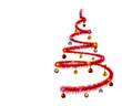 Abstract Christmas tree with colored ball