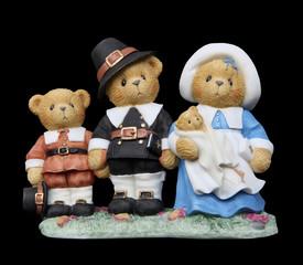 Thanksgiving Pilgrim Bear Family
