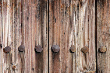 Weathered wooden texture with rusty forged nail heads