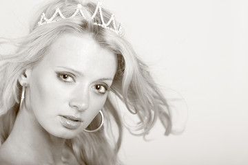 Pretty girl with diadem. Photo with copy-space Close-up face.