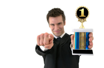 Number one: Successful young man with a trophy