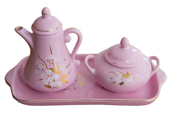Teapot and sugar bowl on a tray