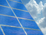 Solar panel array on a cloudy day poster