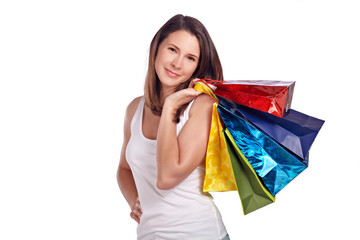 Young woman happy after shopping