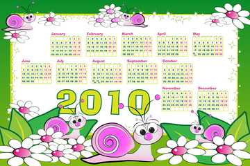 2010 Kid calendar with snails and daisies - Cartoon style