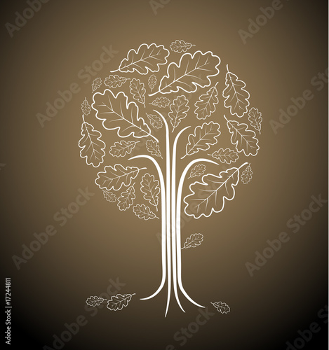 tree silhouette drawing. Vintage abstract tree drawing