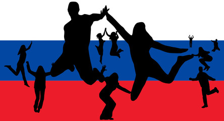 Flag of Russia and people jumping