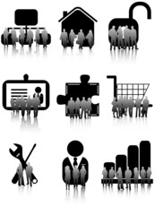 Illustration of business people and icons