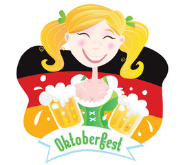 Oktoberfest (Bavarian female). Vector Illustration.