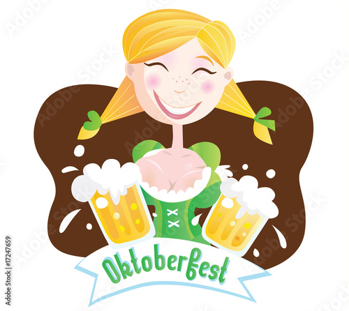 Octoberfest (Bavarian girl). VECTOR ILLUSTRATION.