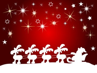 Hintergrund Weihnachtsmann mit Schlitten im Schnee