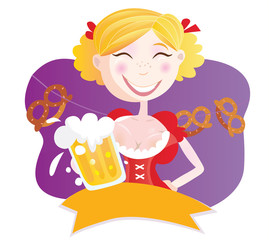 Bavarian woman with beer. VECTOR ILLUSTRATION.