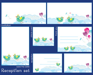 Reception card set with birds and clouds