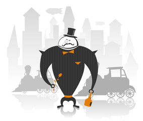 Vector illustration of robot gentleman