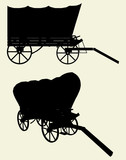 Western Stage Coach Wagon Vector 01 poster