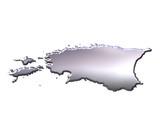 Estonia 3D Silver Map poster
