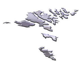 Faroe Islands 3D Silver Map