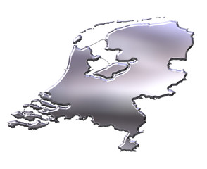 Netherlands 3D Silver Map
