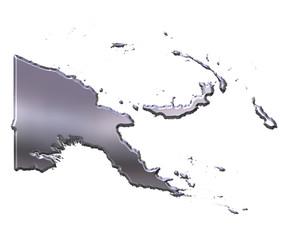 Papua New Guinea 3D Silver Map