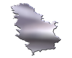 Serbia 3D Silver Map