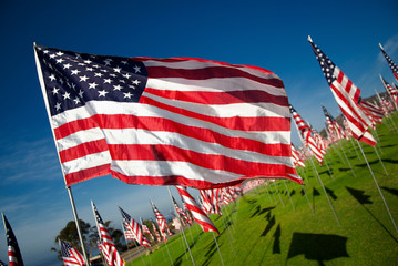 American Flag Flying in Wind