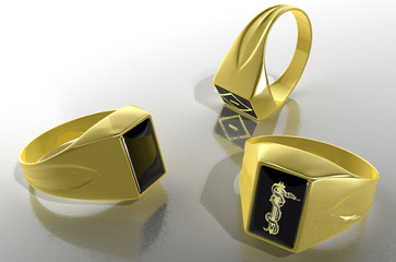 Golden signet rings with the prison symbols