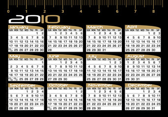 Calendário 2010 - Year 2010 - Black and Gold Calendar