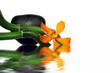 Leinwandbild Motiv Composition bambous orchidée avec reflet