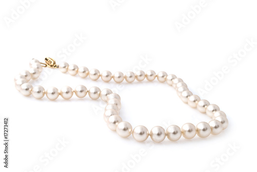 Pearl necklace isolated on white background - 17273412
