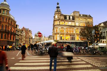street scene in central Amsterdam, The Netherlands