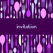 roleta: Cutlery pattern invitation. Violet background