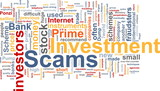 Investment scams word cloud poster