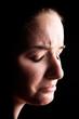 Depressed female acne sufferer