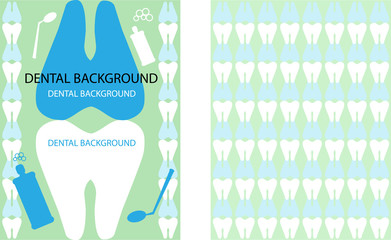 2 Medical Dental Background with Dentist Symbols silhouette.Grea