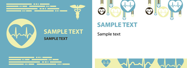 2 Medical cardio Brochure, backgrounds, Vector cardio cover and