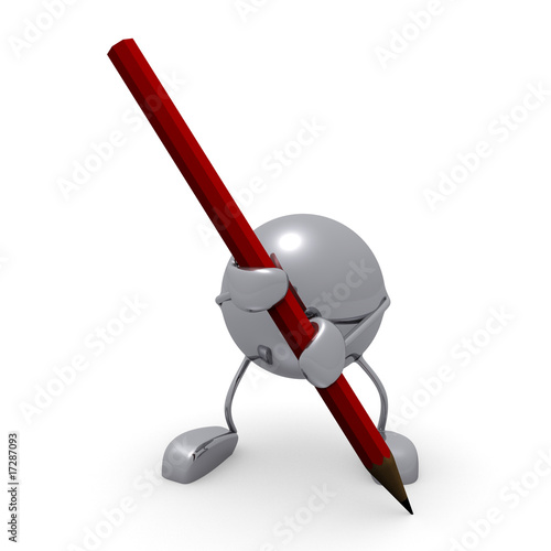 3d character and pencil