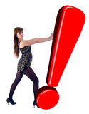 Girl, Pushing Red Exclamation Sign. Isolated On White Background