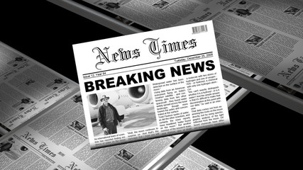 Newspaper press printing newest edition with breaking newsflas