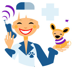 Pets doctor call card, emblem, poster, icons. Woman with dog cal