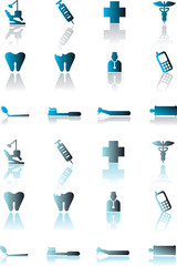 Vector medical dental icons set, web buttons, emblem.Other medic