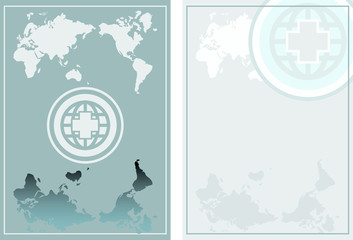 Globe Medical background cover & layout in blue with cross icon